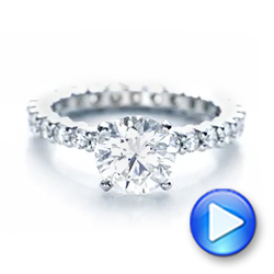 18k White Gold Custom Diamond Eternity Engagement Ring - Video -  102170 - Thumbnail