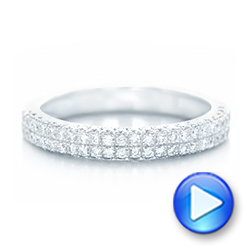 18k White Gold Diamond Pave Wedding Band - Video -  102175 - Thumbnail