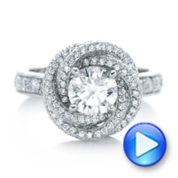 Platinum Custom Diamond Pave Engagement Ring - Video -  102179 - Thumbnail