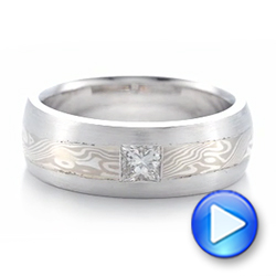 18k White Gold And 14K Gold Custom Diamond Mokume Wedding Band - Video -  102201 - Thumbnail