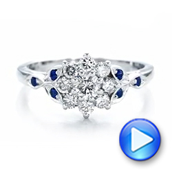 Custom Diamond and Blue Sapphire Engagement Ring - Interactive Video - 102202 - Thumbnail