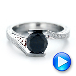 Custom Two-Tone Gold and Black Diamond Engagement Ring - Interactive Video - 102215 - Thumbnail