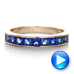 14k Rose Gold Custom Blue Sapphire Wedding Band - Video -  102220 - Thumbnail
