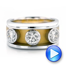 Platinum And 18k Yellow Gold Custom Two-tone Diamond Fashion Ring - Video -  102224 - Thumbnail