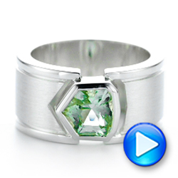 Custom Green Tourmaline And Sterling Silver Men's Ring - Video -  102225 - Thumbnail