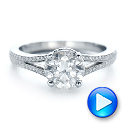 14k White Gold Custom Diamond Split Shank Engagement Ring - Video -  102226 - Thumbnail