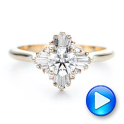 Custom Diamond and Yellow Gold Engagement Ring - Interactive Video - 102230 - Thumbnail