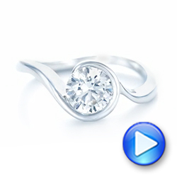 14k White Gold Wrapped Diamond Engagement Ring - Video -  102231 - Thumbnail