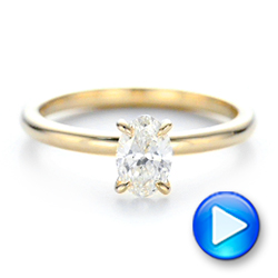 14k Yellow Gold Custom Solitaire Diamond Engagement Ring - Video -  102235 - Thumbnail