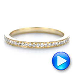 Custom Diamond and Yellow Gold Wedding Band - Interactive Video - 102237 - Thumbnail