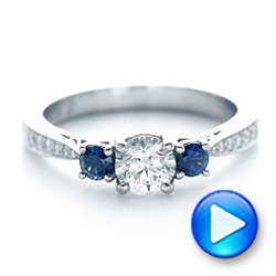 14k White Gold Custom Three Stone Blue Sapphire And Diamond Engagement Ring - Video -  102250 - Thumbnail