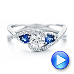 Custom Blue Sapphire and Diamond Engagement Ring - Interactive Video - 102251 - Thumbnail