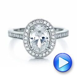 Platinum And 14K Gold Custom Two-tone Diamond Halo Engagement Ring - Video -  102254 - Thumbnail