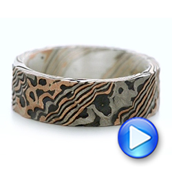 Custom Hammered Mokume Men's Wedding Band - Interactive Video - 102265 - Thumbnail