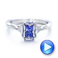 Custom Blue Sapphire and Diamond Three Stone Engagement Ring - Interactive Video - 102271 - Thumbnail