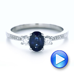 Custom Blue Sapphire and Diamond Engagement Ring - Interactive Video - 102274 - Thumbnail
