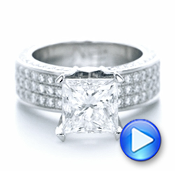 Custom Princess Cut Diamond and Pave Engagement Ring - Interactive Video - 102276 - Thumbnail
