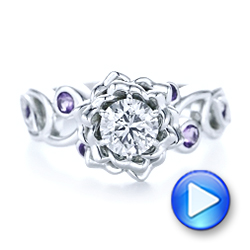 Custom Organic Flower Halo and Amethyst Engagement Ring - Interactive Video - 102279 - Thumbnail