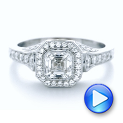 14k White Gold 14k White Gold Custom Asscher Diamond And Halo Engagement Ring - Video -  102282 - Thumbnail
