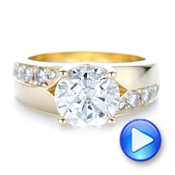 Custom Yellow Gold and Diamond Engagement Ring - Interactive Video - 102283 - Thumbnail