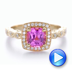 14k Rose Gold Custom Pink Sapphire Engagement Ring - Video -  102285 - Thumbnail