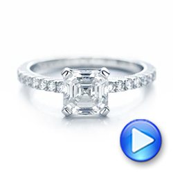 14k White Gold 14k White Gold Custom Diamond Engagement Ring - Video -  102289 - Thumbnail