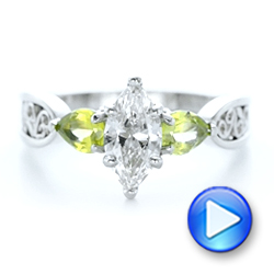 Platinum Custom Peridot And Marquise Diamond Engagement Ring - Video -  102290 - Thumbnail