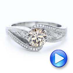 Custom Brown Diamond and Hand Engraved Engagement Ring - Interactive Video - 102293 - Thumbnail