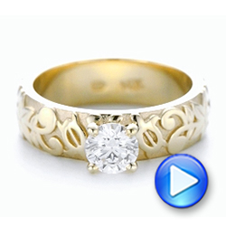 14k Yellow Gold Custom Solitaire Diamond Engagement Ring - Video -  102306 - Thumbnail