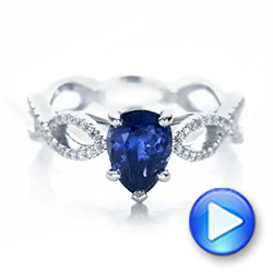 14k White Gold Custom Blue Sapphire And Diamond Engagement Ring - Video -  102309 - Thumbnail