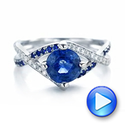 14k White Gold Custom Blue Sapphire And Diamond Engagement Ring - Video -  102312 - Thumbnail