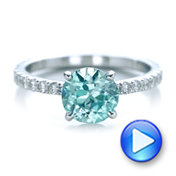 Custom Blue Zircon and Diamond Engagement Ring - Interactive Video - 102318 - Thumbnail