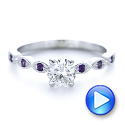 14k White Gold Custom Diamond And Amethyst Engagement Ring - Video -  102319 - Thumbnail