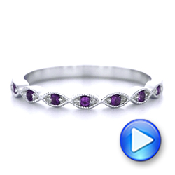 14k White Gold Custom Amethyst Wedding Band - Video -  102323 - Thumbnail