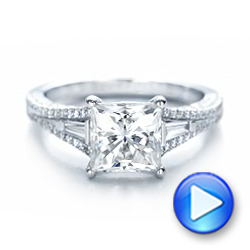 18k White Gold Custom Diamond And Pink Tourmaline Engagement Ring - Video -  102324 - Thumbnail