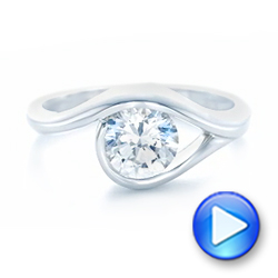14k White Gold Wrapped Solitaire Engagement Ring - Video -  102329 - Thumbnail