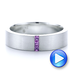 Custom Lavender Sapphire Men's Wedding Band - Interactive Video - 102335 - Thumbnail