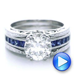 Custom Diamond and Blue Sapphire Interlocking Engagement Ring - Interactive Video - 102340 - Thumbnail