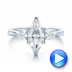 Custom Three Stone Diamond Engagement Ring - Interactive Video - 102353 - Thumbnail