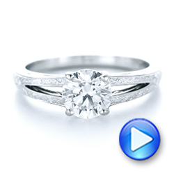 Platinum Custom Diamond And Pink Sapphire Engagement Ring - Video -  102355 - Thumbnail