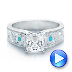 Platinum Custom Diamond And Turquoise Engagement Ring - Video -  102366 - Thumbnail
