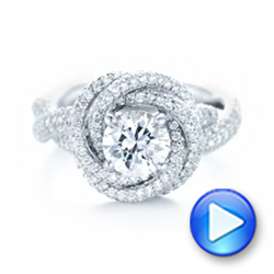 18k White Gold Modern Knot Edgeless Pave Engagement Ring - Video -  102374 - Thumbnail