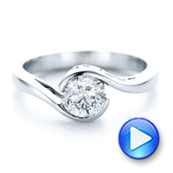 Platinum Custom Wrapped Diamond Engagement Ring - Video -  102376 - Thumbnail