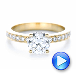 18k Yellow Gold Custom Diamond Engagement Ring - Video -  102381 - Thumbnail
