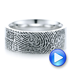 18k White Gold Custom Men's Engraved Fingerprint Wedding Band - Video -  102383 - Thumbnail