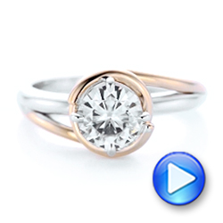 Custom Two-Tone Solitaire Diamond Engagement Ring - Interactive Video - 102407 - Thumbnail