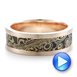 Custom Men's Rose Gold and Mokume Wedding Band - Interactive Video - 102419 - Thumbnail