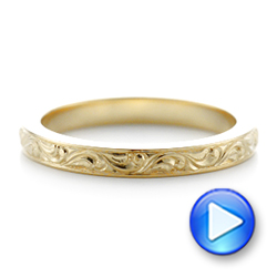 18k Yellow Gold Custom Relief Engraved Wedding Band - Video -  102424 - Thumbnail