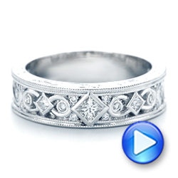 14k White Gold Custom Diamond Wedding Band - Video -  102426 - Thumbnail