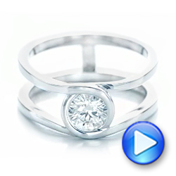 14k White Gold Custom Solitaire Diamond Engagement Ring - Video -  102427 - Thumbnail